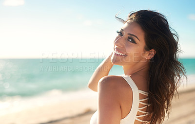 Buy stock photo Cropped shot of a gorgeous young woman on the beach
