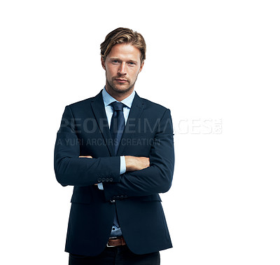 Buy stock photo Studio portrait of a handsome young businessman isolated on white