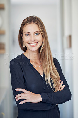 Buy stock photo Shot of an attractive and confident young woman at home