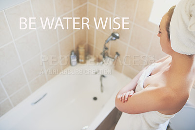 Buy stock photo Cropped shot of a beautiful young woman getting ready to take a bath at home with the words