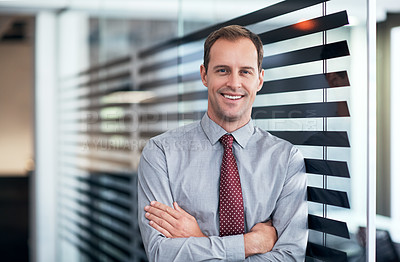 Buy stock photo Portrait of a young businessman standing in an office