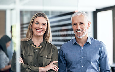 Buy stock photo Portrait of two businesspeople standing in an office