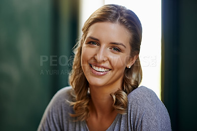 Buy stock photo Portrait of a beautiful young woman working from home