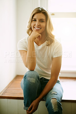 Buy stock photo Portrait of an attractive young woman spending a relaxing day at home
