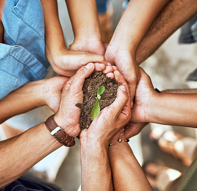 Buy stock photo Closeup shot of a group of people holding a plant growing in soil