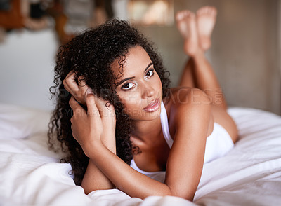 Buy stock photo Portrait of a gorgeous young woman posing seductively in her bedroom