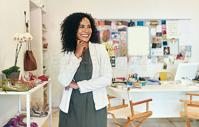 Buy stock photo Shot of a woman working at her store