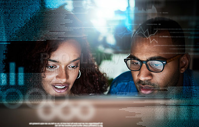 Buy stock photo Shot of two programmers working on a computer code at night