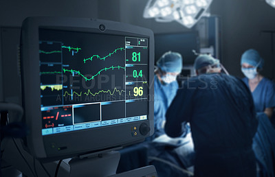 Buy stock photo Shot of a hospital monitor in an operating theatre
