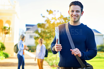 Buy stock photo Portrait of a male university student outside on campus