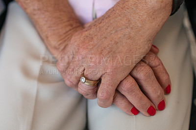 Buy stock photo Cropped shot of a senior woman's hands in a retirement home
