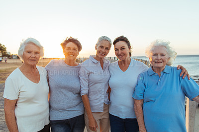 Buy stock photo Cropped shot of a group of senior women standing together