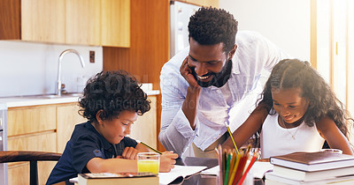 Buy stock photo Cropped shot of a young father helping his adorable son and daughter with their schoolwork at home