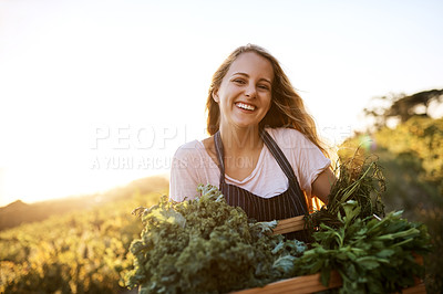 Buy stock photo Shot of a young woman holding a crate full of freshly picked produce on a farm