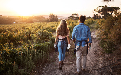 Buy stock photo Rearview shot of a young man and woman walking through a farm