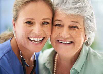 Buy stock photo Closeup portrait of an attractive female nurse and her senior patient in the hospital