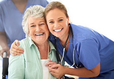 Buy stock photo Cropped portrait of an attractive female nurse and her senior patient in the hospital