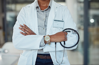 Buy stock photo Closeup shot of an unrecognizable doctor standing in a hospital
