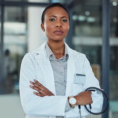 Buy stock photo Portrait of a doctor standing in a hospital