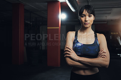 Buy stock photo Portrait of a beautiful young woman at the gym for a workout