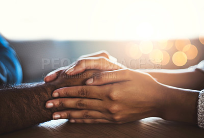 Buy stock photo Closeup shot of a man and woman holding hands