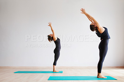 Buy stock photo Shot of two focused young women practicing yoga poses together inside of a studio during the day