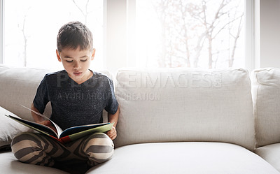 Buy stock photo Shot of an adorable little boy reading a book while relaxing on the sofa at home