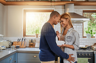 Buy stock photo Cropped shot of a loving couple at home