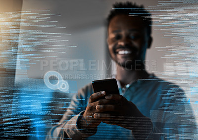 Buy stock photo Shot of a programmer using a cellphone while working on a source code at night