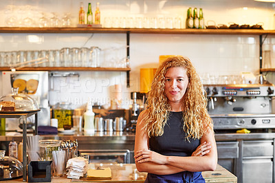 Buy stock photo Portrait of a female barista on duty in a coffee shop