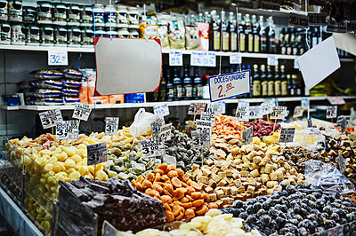 Buy stock photo Shot of produce in a supermarket