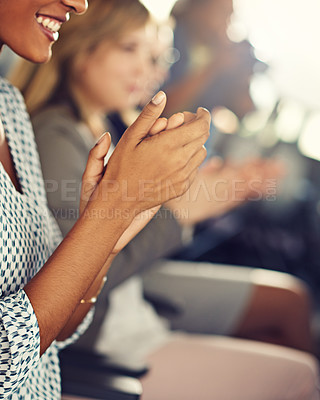 Buy stock photo Cropped shot of a group of diverse businesspeople clapping during a seminar