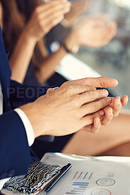 Buy stock photo Cropped shot of a group of unrecognizable businesspeople clapping during a seminar