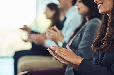 Buy stock photo Cropped shot of a group of businesspeople clapping during a conference in a modern office