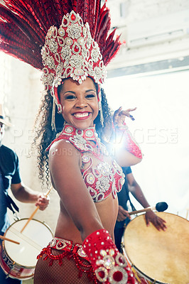 Buy stock photo Shot of a beautiful samba dancer performing at a carnival