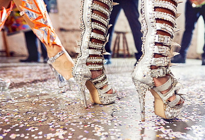 Buy stock photo Cropped shot of an unrecognizable samba dancer's shoes performing at a carnival