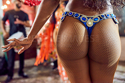 Buy stock photo Cropped shot of an unrecognizable samba dancer performing at a carnival