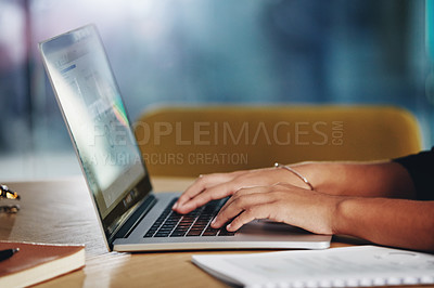 Buy stock photo Closeup shot of an unrecognizable businesswoman using a laptop in an office