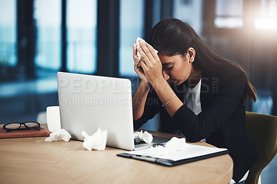 Buy stock photo Shot of a young businesswoman looking unwell in an office