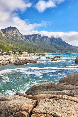 Buy stock photo Camps Bay,  Table Mountain National Park, Cape Town, South Africa