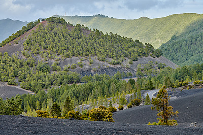 Buy stock photo Beautiful lava landscape on the Cumbre Nueva in La Palma
