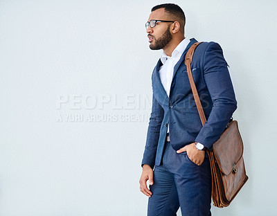 Buy stock photo Studio shot of a well dressed young businessman