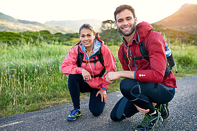 Buy stock photo Full length portrait of a young couple out for a morning run