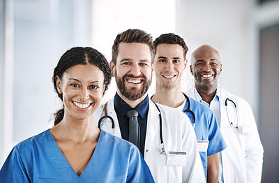 Buy stock photo Cropped shot of doctors standing in a line