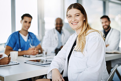 Buy stock photo Portrait of a medical practitioner sitting in a meeting