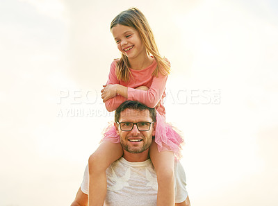Buy stock photo Cropped portrait of a mature man carrying his daughter on his shoulders outside