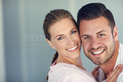 Buy stock photo Portrait of a happy married couple at home