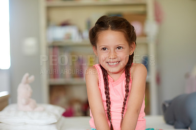 Buy stock photo Cropped shot of an adorable little girl at home