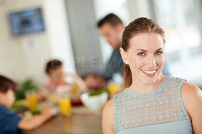 Buy stock photo Defocused shot of a  woman at home