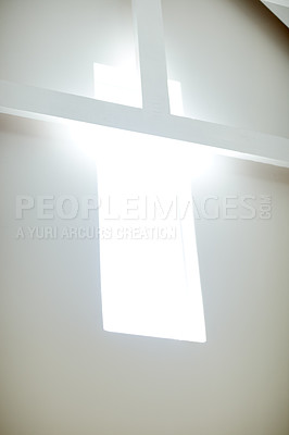 Buy stock photo Low angle shot of light coming through a window of a modern design window